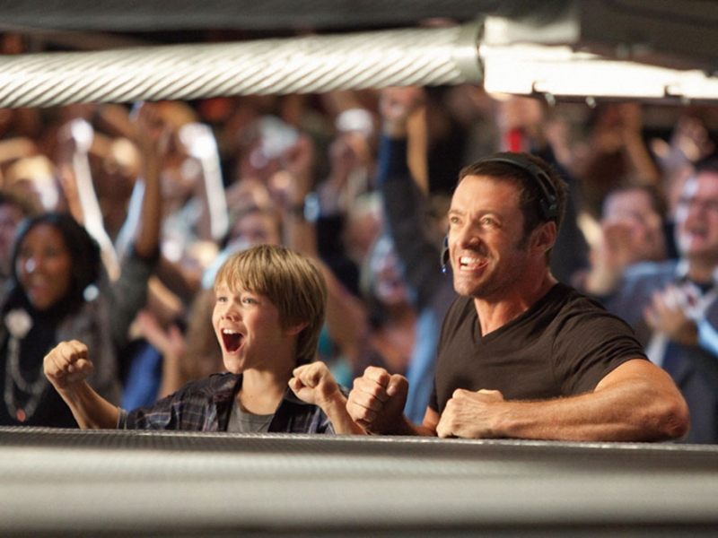 Hugh Jackman and Dakota Real Steel