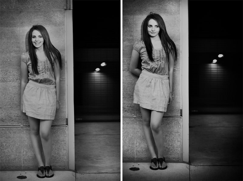 Black and White Girl Senior Pictures in Michigan