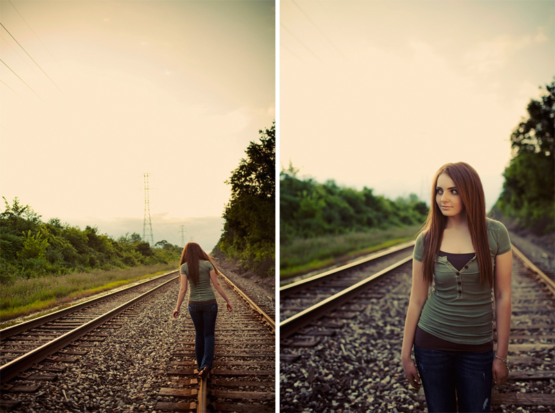 Railroad Tracks Girl Senior Pictures in Michigan