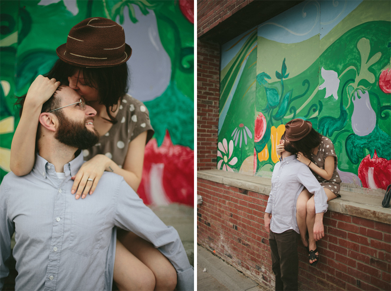 Graffiti and Old-fashioned Engagement Pictures in Detroit, MI